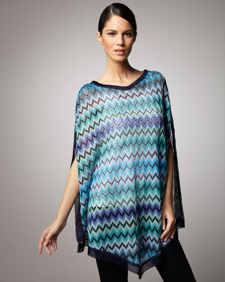 Long Zigzag Knit Poncho, Blue