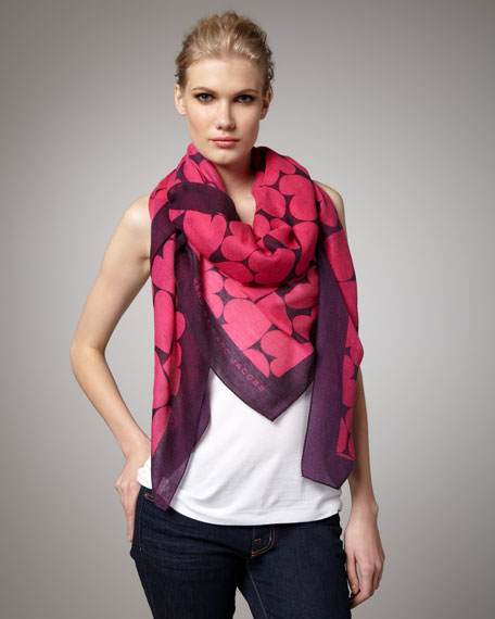 Big Hearted Silk-Cashmere Scarf