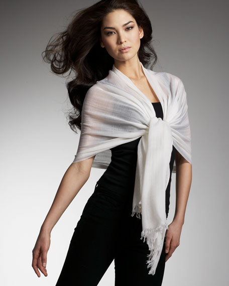 Ultra Lightweight Cashmere Stole, White