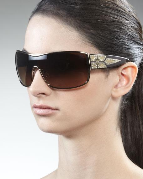 Crystal-Embellished Shield Sunglasses, Rose Golden