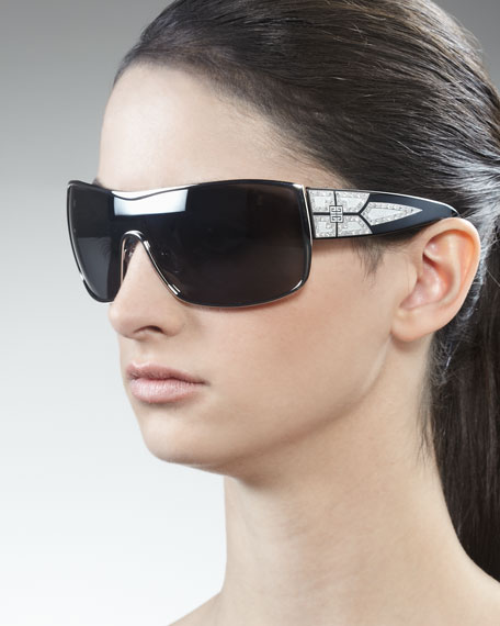 Crystal-Embellished Shield Sunglasses, Gray