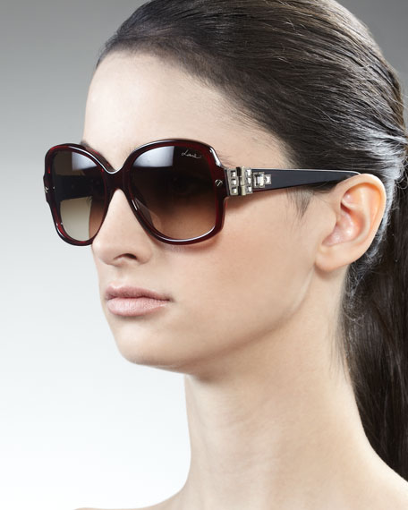 Swarovski Crystals-Detail Square Sunglasses, Bordeaux