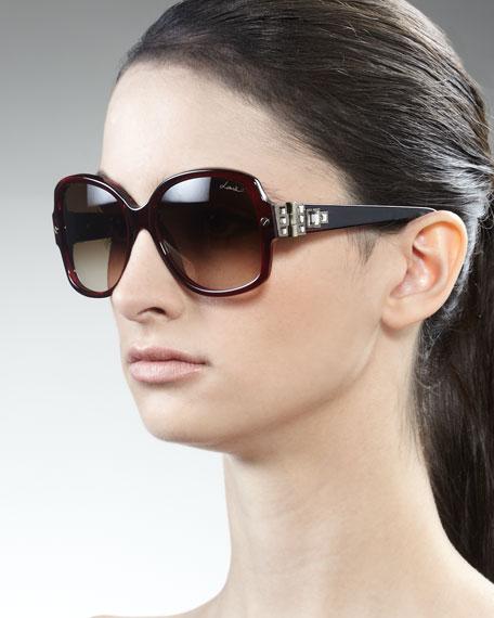 Swarovski Crystals-Detail Square Sunglasses, Bordeaux