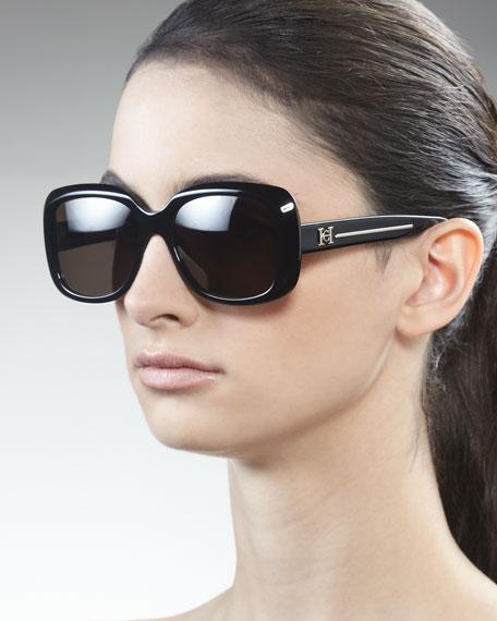 Shiny Square Sunglasses, Black