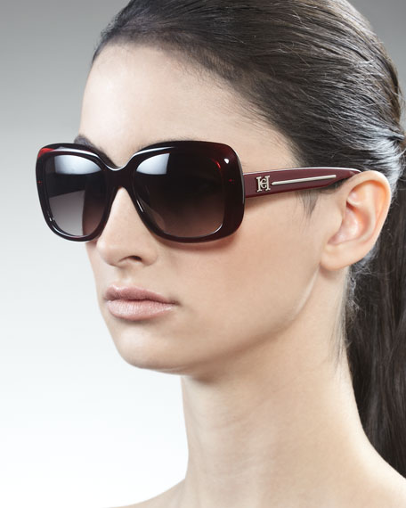 Shiny Square Sunglasses, Burgundy