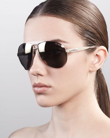 Dominique Aviator Sunglasses, Rose Golden
