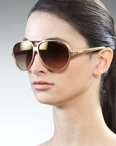 Luisa Aviator Sunglasses, Gold