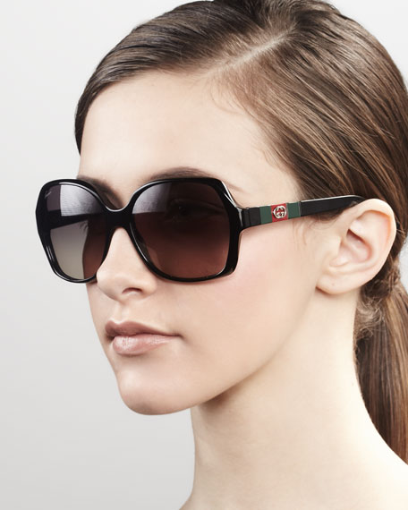 Logo Square Frame Sunglasses, Black
