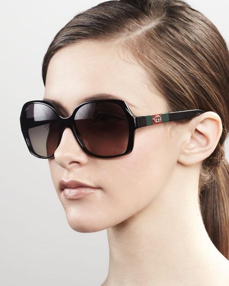 Logo Square Frame Sunglasses, Black