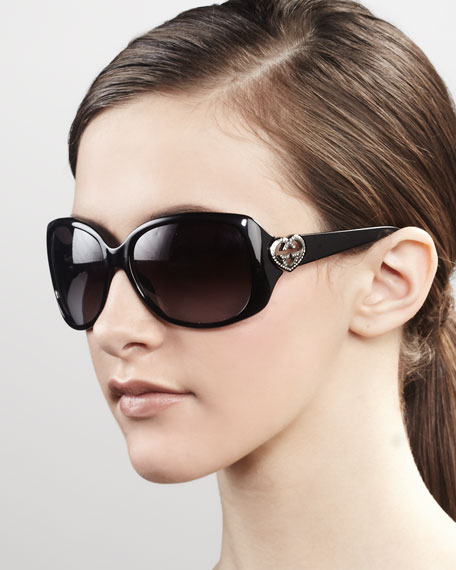 Heart Logo Sunglasses, Black