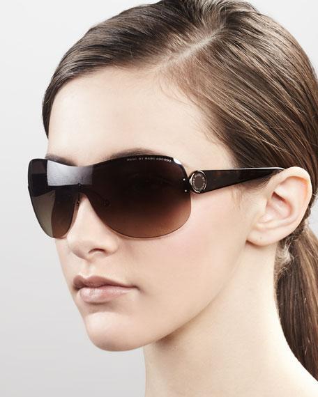 Shield Sunglasses, Brown Havana