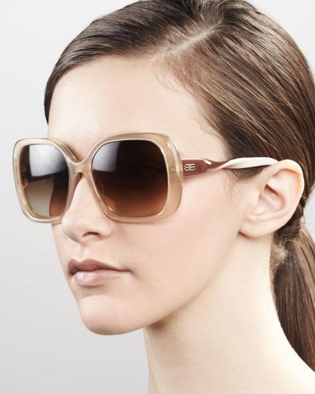 Squared Plastic Sunglasses, Beige
