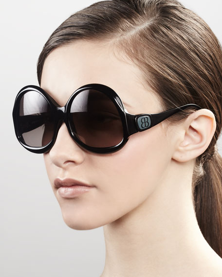 Side-Logo Sunglasses, Black