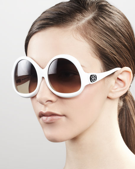 Side-Logo Sunglasses, White