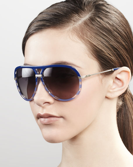Croisette Striped Aviator Sunglasses, Blue