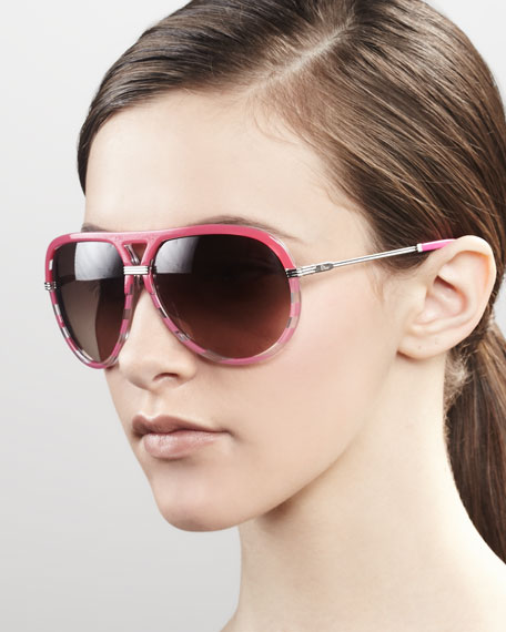Croisette Striped Aviator Sunglasses, Fuchsia