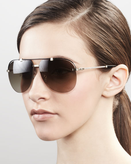Croisette Aviator Sunglasses, Gold