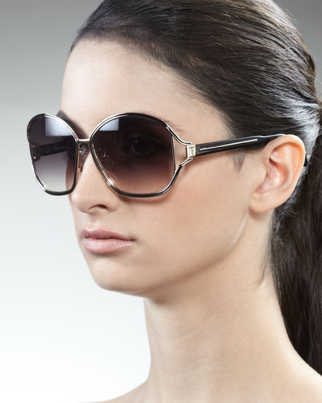 Two-Tone Metal Sunglasses