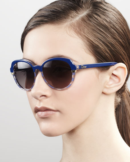 Round Croisette Striped Sunglasses, Blue Crystal