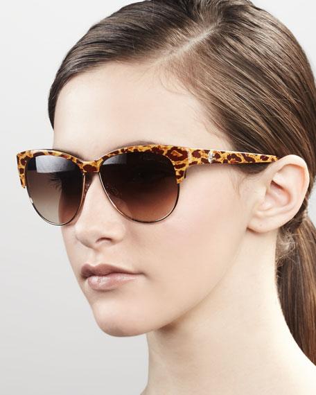 Modern Cat-Eye Browline Sunglasses