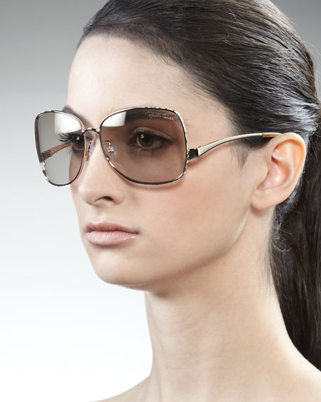 Square Metal Sunglasses, Rose Golden
