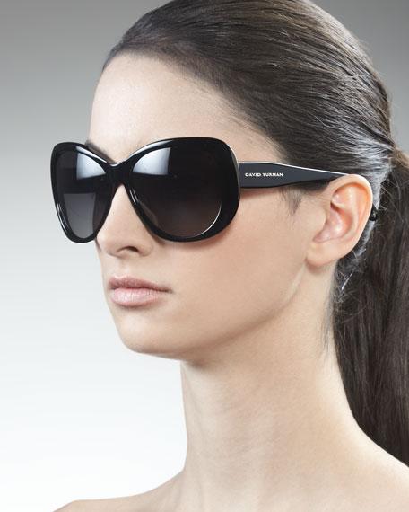 Floating Logo Polarized Sunglasses, Black