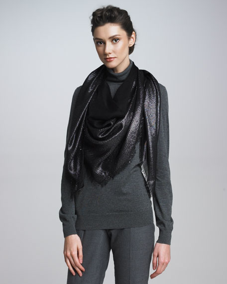 Metallic Evening Shawl, Black