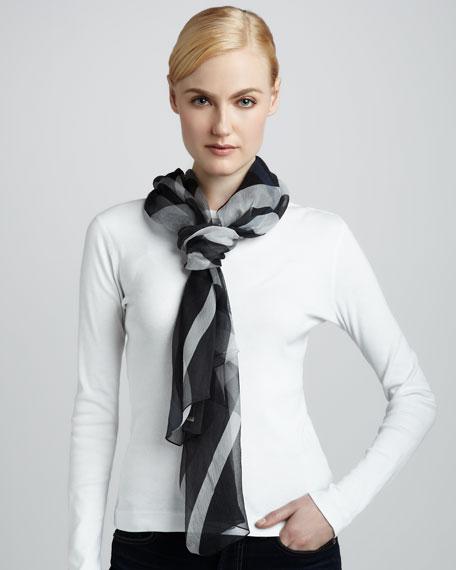 Half Mega-Check Silk Scarf