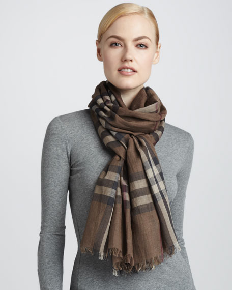 Giant Check Gauze Rectangular Scarf
