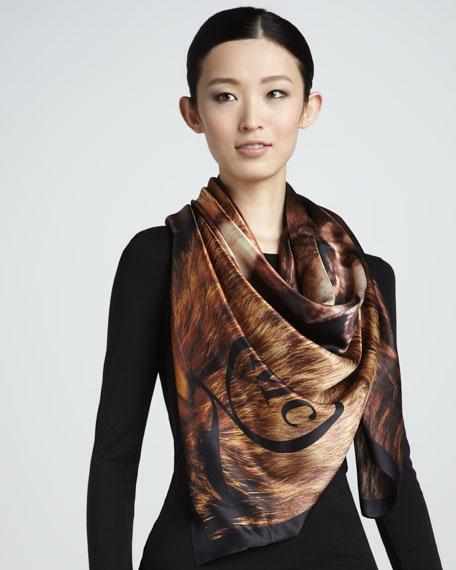 Wolf-Print Silk Scarf