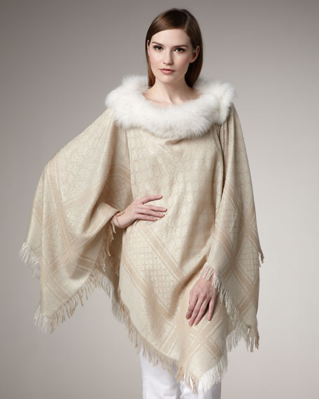 Fox Fur-Trimmed GG Poncho, Ivory