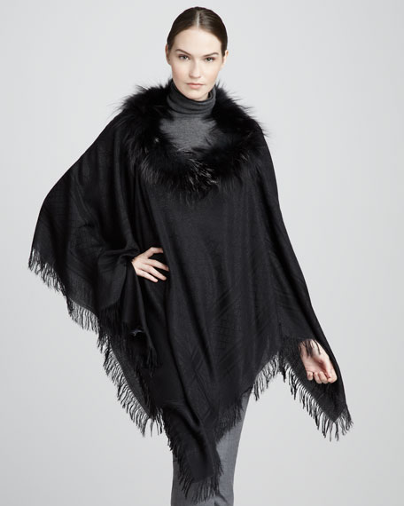 Fox Fur-Trimmed GG Poncho, Black