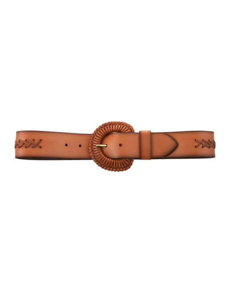Braided Buckle Belt, Natural