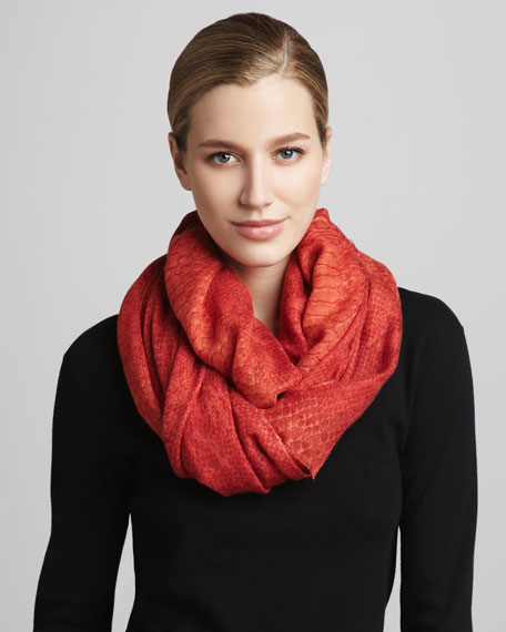 Python-Print Scarf, Electric Red