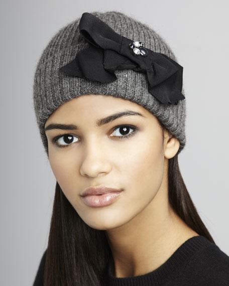 Grosgrain Bow Knit Hat