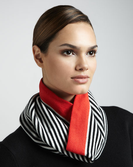 big apple striped neck-warmer, red