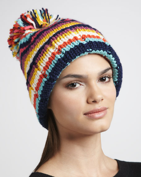 womn-4-womn striped pompom hat