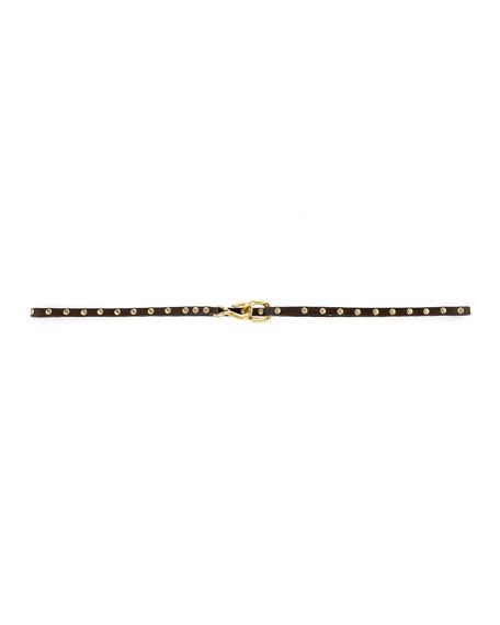 Alana Skinny Stud-Trim Belt, Black