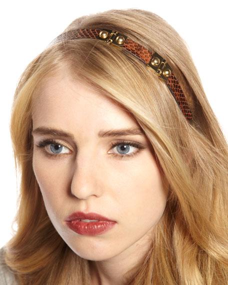 Snake-Embossed Hardware Headband, Light Brown