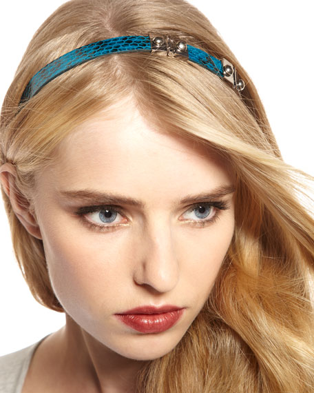 Snake-Embossed Hardware Headband, Teal