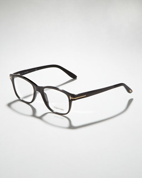 Unisex Semi-Rounded Square Fashion Glasses, Shiny Black/Rose Golden