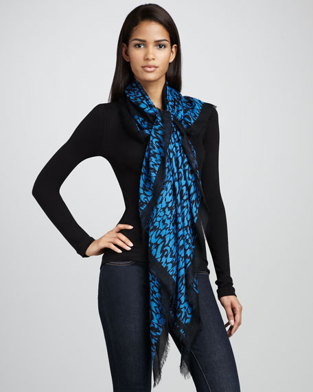 Animal-Print Scarf, Blue