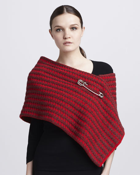 Safety-Pinned Waffle-Knit Scarf, Red