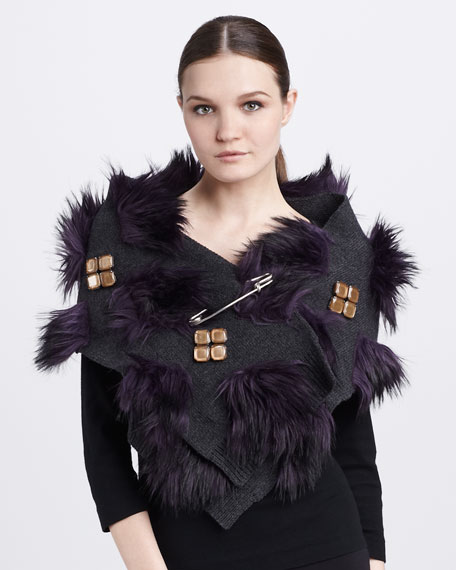 Safety-Pinned Faux-Fur Scarf, Purple