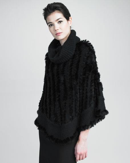 Ribbed-Trim Rabbit Fur Poncho