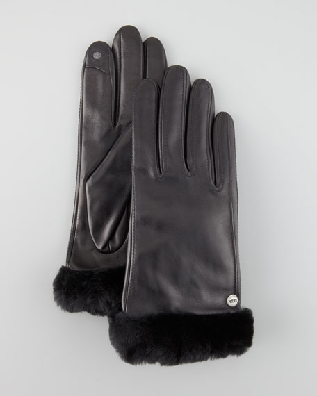 Classic Leather Smart Gloves, Black