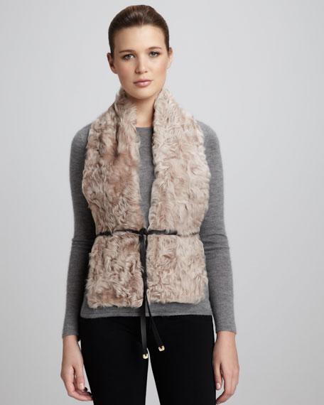 Curly Lamb Fur Vest, Stucco