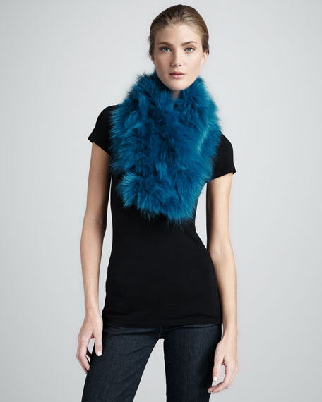 Fur Shawl Collar, Teal