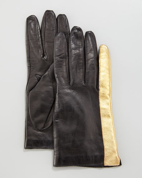 Colorblock Leather Gloves, Black