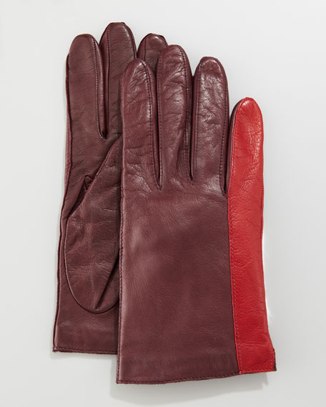 Colorblock Leather Gloves, Cabernet